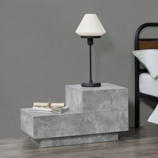 en.casa Nachttisch, »Sebokeng« Beistelltisch Nachtschrank mit 2 Schubladen betonfarben matt