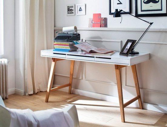 expendio Schreibtisch »Anja L«, weiß 140x58x75 cm MDF mit Schubkästen