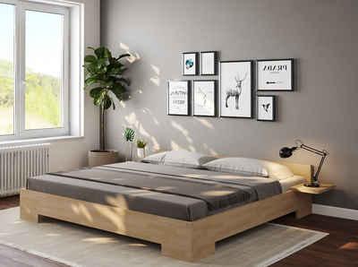 bv-vertrieb Bett »Doppelbett Echtholz Buche«, Doppelbett Sondermaß 200x220 erhöhte Liegefläche Ehebett Komforthöhe Buche - (3056)