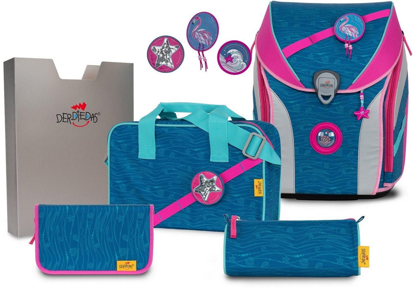 derdiedas® -  Schulranzen »ErgoFlex MAX Buttons - Karibik« (Set), mit 3 Buttons