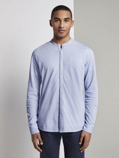 TOM TAILOR Denim Langarmhemd »Strukturiertes Jersey-Hemd«