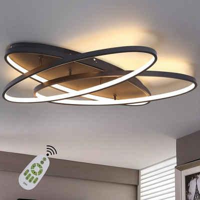ZMH LED Deckenleuchte »LED Deckenleuchte Dimmbar Modern Wohnzimmer Deckenlampe Innen 76W Schlafzimmerlampe Dekorative Deckenbeleuchtung mit Fernbedienung für Wohnzimmer Schlafzimmer Esszimmer«, LED Deckenlampe