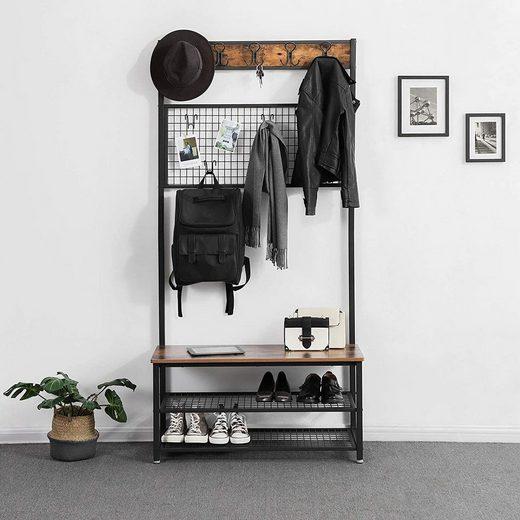 VASAGLE Garderobenständer »HSR46BX«, Garderobe mit 9 Kleiderhaken und Schuhregal, vintage