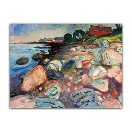 Bilderdepot24 Leinwandbild, Leinwandbild - Edvard Munch - Shore with Red House - Küste mit rotem Haus