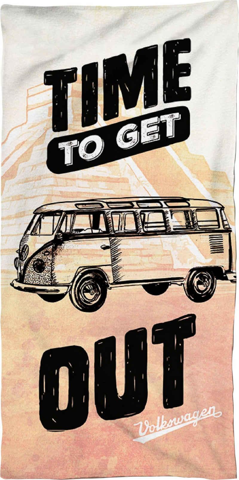 Volkswagen Strandtuch »Time to get out« (1-St), mit Schriftzug