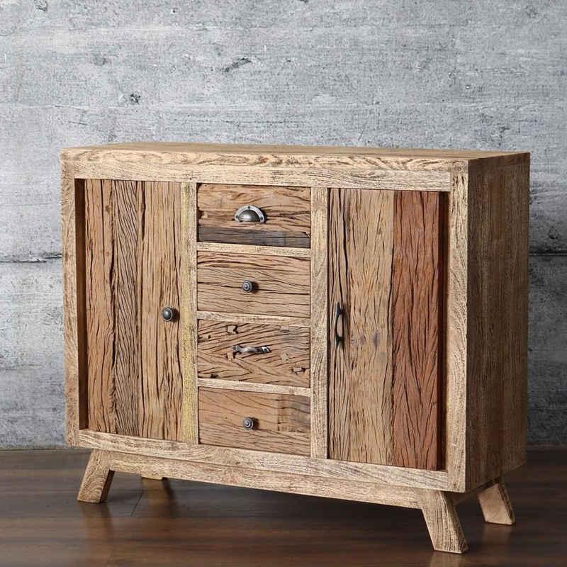 baario Sideboard »Sideboard HOLIS«, massiv recyceltes Altholz Treibholz Antik-Finish Design Kommode Vintage