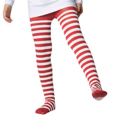 tectake Kostüm »Gestreifte Strumpfhose für Kinder rot-weiß«
