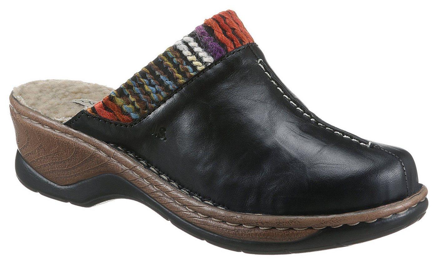 Clogs - Josef Seibel »CATALONIA 59« Clog mit buntem Textilbesatz › schwarz  - Onlineshop OTTO