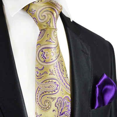 Paul Malone Krawatte »7-Fold Seidenkrawatte Schlips modern elegant 100% Seide paisley« (Set, 2-St., mit Einstecktuch) gelb gold lila violett S14111-23