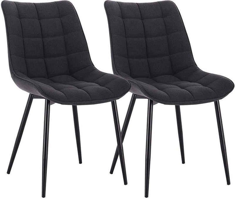 Woltu Esszimmerstuhl »BH206« (2er-Set), Küchenstuhl Polsterstuhl Wohnzimmerstuhl Sessel mit Rückenlehne, Sitzfläche aus Leinen, Metallbeine
