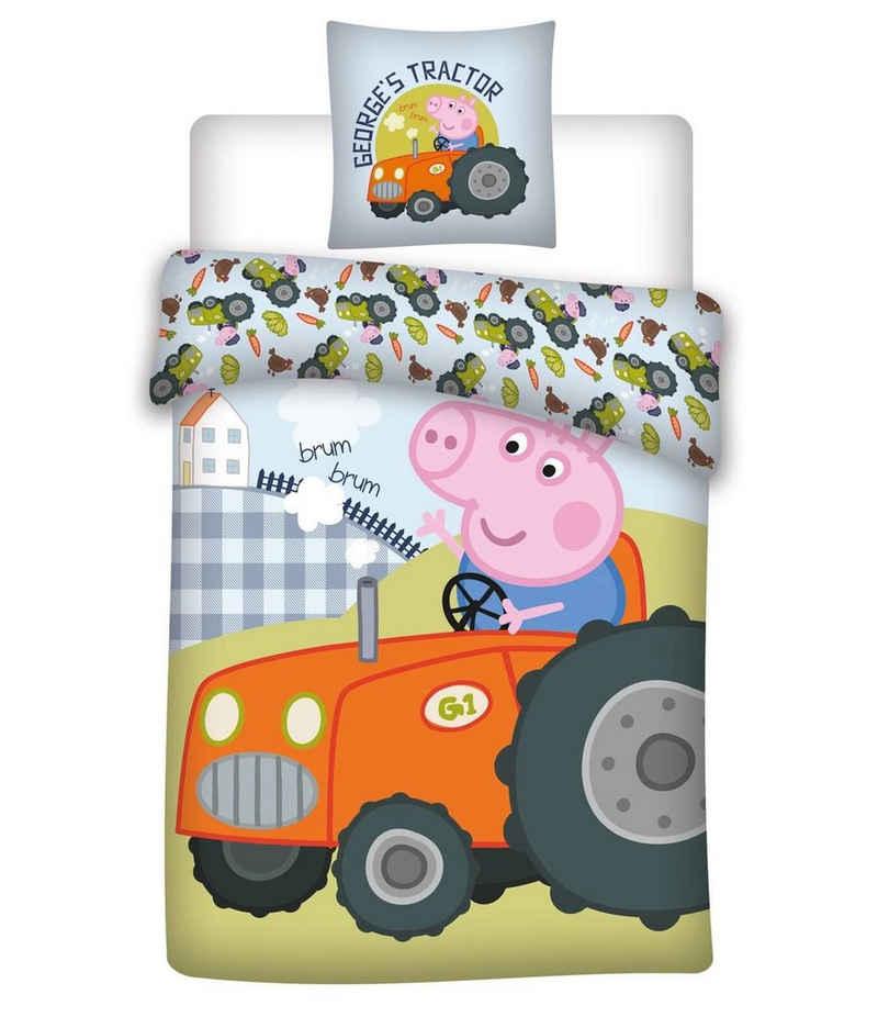 Kinderbettwäsche »Peppa Pig - George Traktor - Wende-Bettwäsche-Set, 135x200 & 80x80«, Peppa Pig, 100% Baumwolle