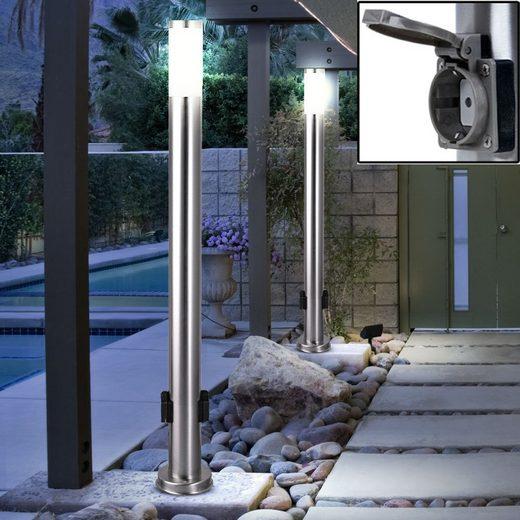 etc-shop LED Außen-Stehlampe, 2er Set LED 7 Watt Energie Strom Outdoor Verteiler 2-Fach Steckdosen Edelstahl