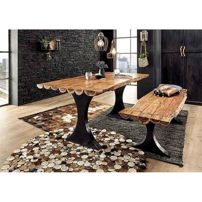 Lomadox Essgruppe »AMSTERDAM-119«, (Spar-Set), Esszimmer Set 2-tlg. bestehend aus Massivholztisch und Bank aus Akazie, Breite 180 cm