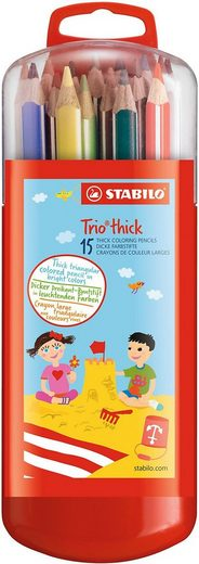 STABILO Dekorierstift »Buntstifte Trio Zebrui, dick, 15 Farben«