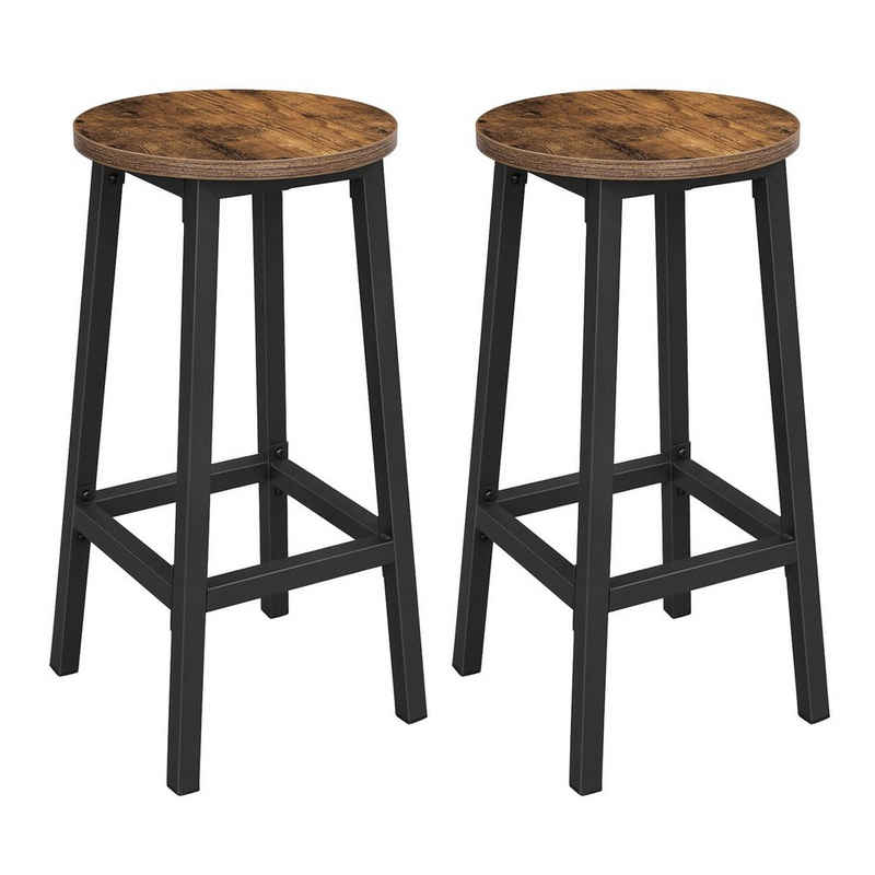 VASAGLE Barhocker »LBC32X LBC032B02«, 2er Set Barstühle, Höhe 65 cm, rund, einfache Montage, Industriestil