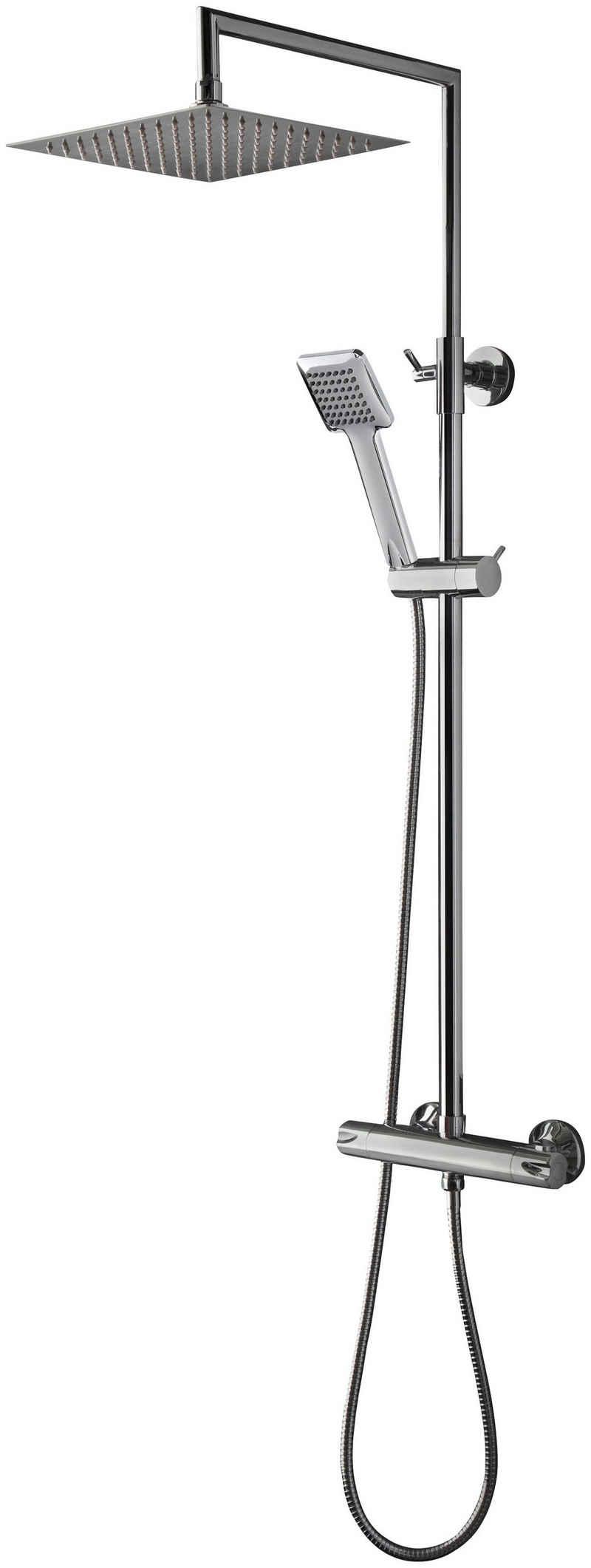 welltime Brausegarnitur »Raindrop«, Höhe 83 cm, 1 Strahlart(en), höhenverstellbare Überkopfbrause