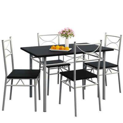 Casaria Esstisch »Paul« (5-St), Sitzgruppe Küchentisch mit 4 Stühlen für Esszimmer Küche Essgruppe Tisch Stuhl Set - Schwarz
