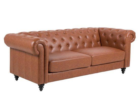 ebuy24 Sofa »Charlie Sofa 3 Personen, Cognac, PU Kunstleder.«