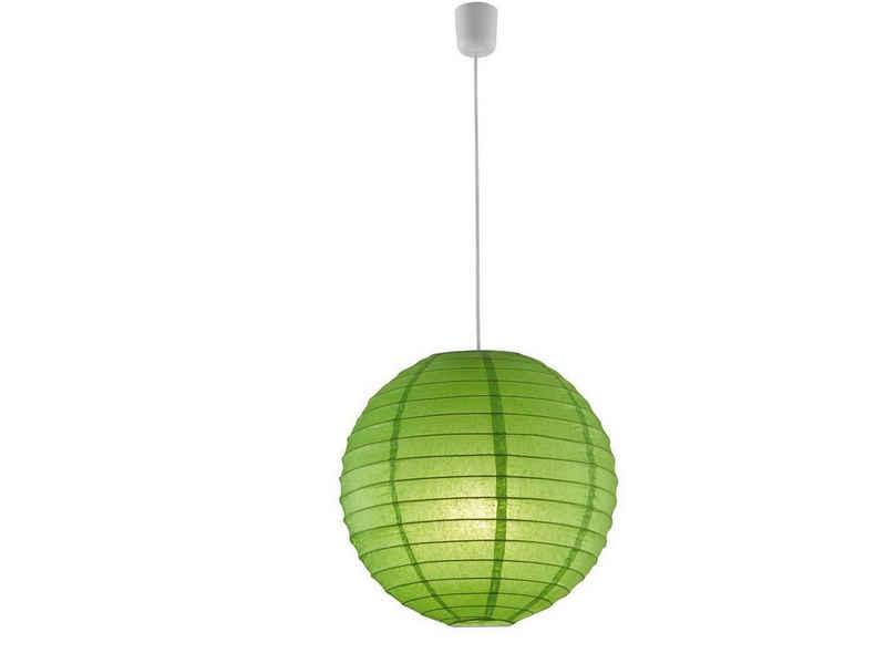 meineWunschleuchte LED Pendelleuchte, Kugel, Japanische Papier-Lampe mit Lampenschirm Papier-Kugel Grün, 1 flammig