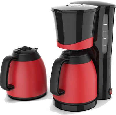 Team Kalorik Filterkaffeemaschine TKG KA 520 BK RD, 1l Kaffeekanne, Papierfilter, hochwertiger Kaffeeautomat mit 2 Thermokannen