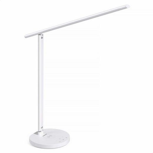 Tomons LED Schreibtischlampe »Dimmbar Tischleuchte, 3 Farbstufen, 6 Helligkeits, unterstützt kabelloses Laden für Smartphone, mit USB Ladenanschluss, Memory-Funktion, Touch-Steuerung, Timer, 10W«
