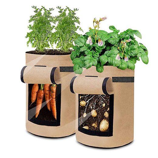 TOPMELON Pflanzkübel (2 Stück), Pflanzsäcke aus Vliesstoff, Pflanzgefäß Pflanzsack Pflanzbehälter Pflanzkübel, 3 Größe, Kartoffelpflanzbeutel