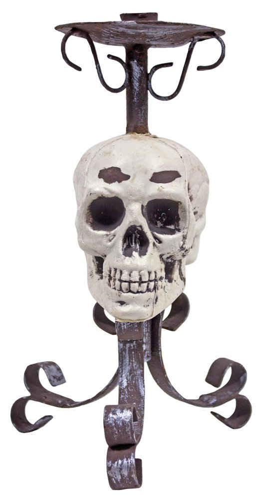 Das Kostümland Kerzenständer »Metall Kerzenhalter mit Totenkopf - 26 cm - Gruselige Piraten Halloween Partydekoration« (1 Stück)