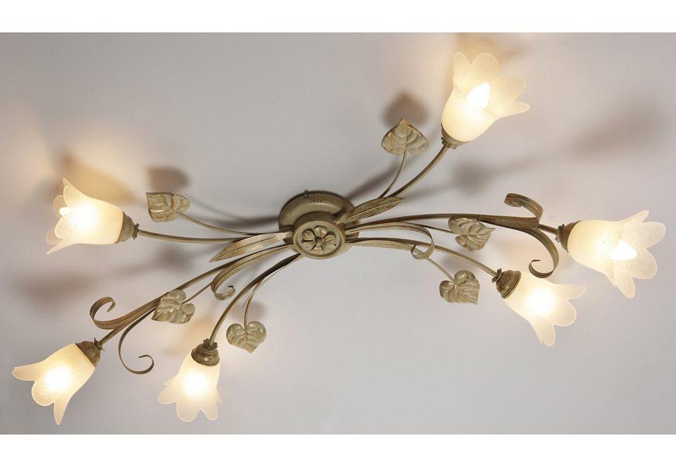 Deckenlampe »Florentiner-Serie«, 6flg. in elfenb./goldf.