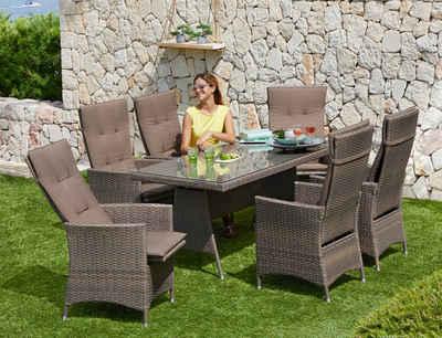 Merxx Gartenmöbelset Valencia 13 Tlg 6 Relaxsessel Tisch 150x80 Cm Polyrattan