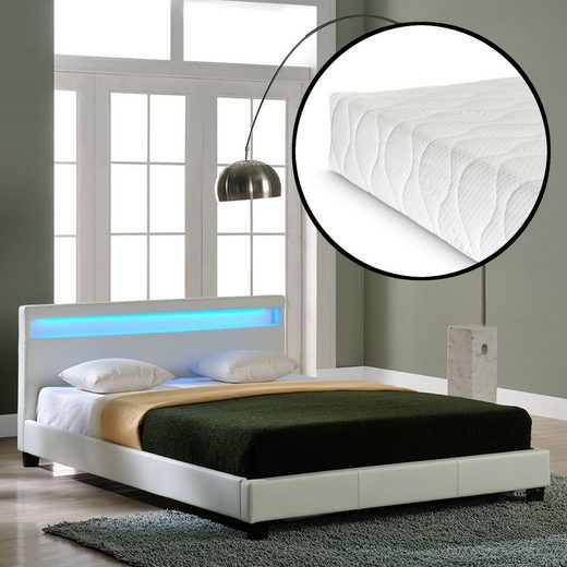 Corium Polsterbett, LED-Bett »Paris« mit Matratze in diversen Größen und Farben