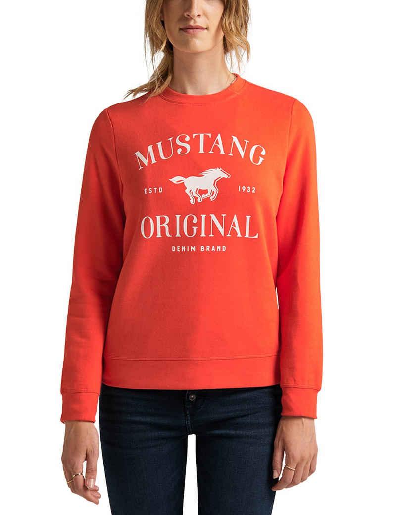 MUSTANG Rundhalspullover »Bea C Logo Print« Sweatshirt