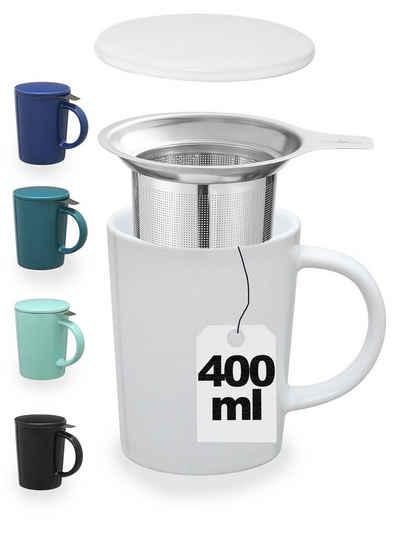 Cosumy Teeglas »Teetasse mit Sieb und Deckel weiß 400ml«, Keramik, Hält Lange warm - 400ml Groß - Spülmaschinenfest