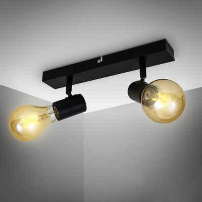 B.K.Licht LED Deckenspots, Deckenleuchte Retro Deckenlampe Vintage Industriedesign E27 schwarz-matt