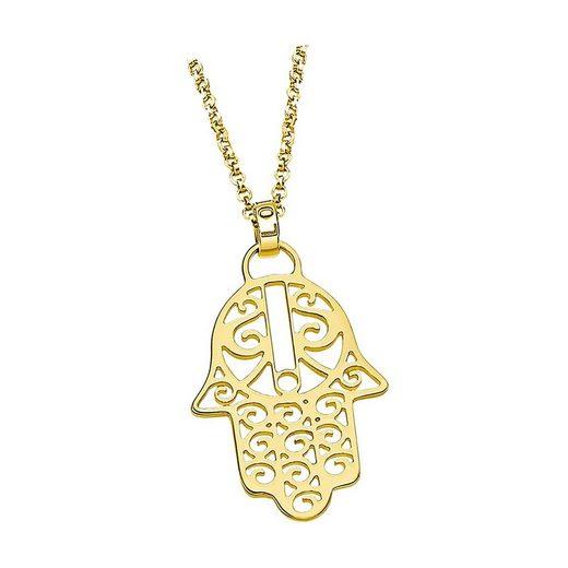 LOTUS SILVER Kette mit Anhänger »JLP1849-1-2 Lotus Silver Hand der Fatima Halskette« (Halsketten), Halsketten für Damen 925 Sterling Silber, gold