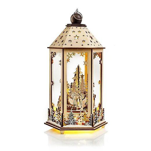 JOKA international Laterne »LED Holzlaterne Winterwald mit Spieluhr 17487«, Laterne Weihnachten mit Spieluhr