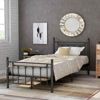 Flieks Metallbett, Hochwertiger Metallbettrahmen mit Kopf- und Fußteil, Bett für Kinder, Jugendliche und Erwachsene, Schwarz