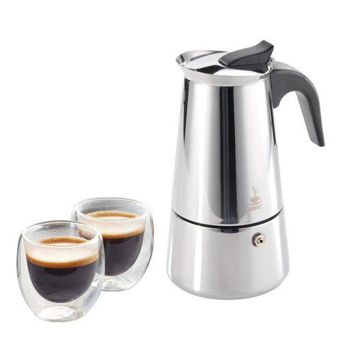 GEFU Espressokocher Espressokocher mit Gläsern Jubiläumsset