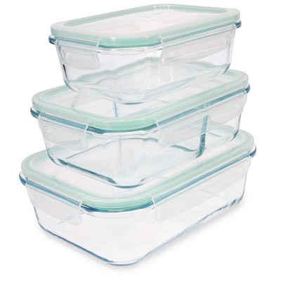 Navaris Frischhaltedose, Glas, (3-tlg), Set mit Deckel - 3x Glas Vorratsdosen in 3 Größen - auslaufsicher hitzebeständig kältebeständig - Glasbehälter Boxen
