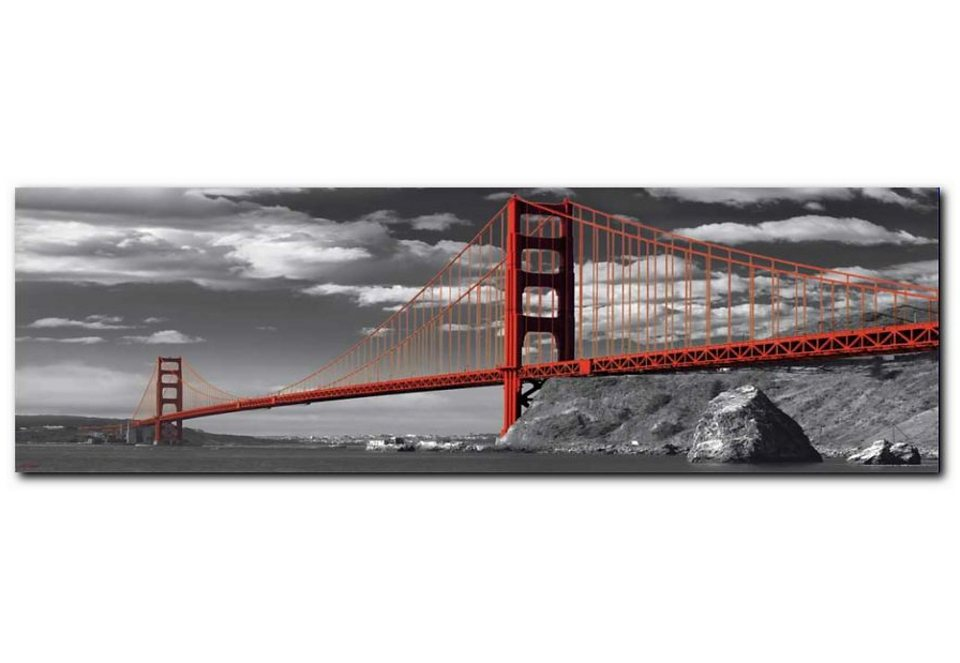 Wandbild, Premium Picture, »Golden Gate Bridge«, Größe 90 x 30 cm in grau