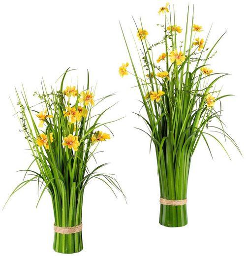 Kunstpflanze »Grasbusch mit Cosmea-Blüten«, 2er Set, H: 67/44 cm