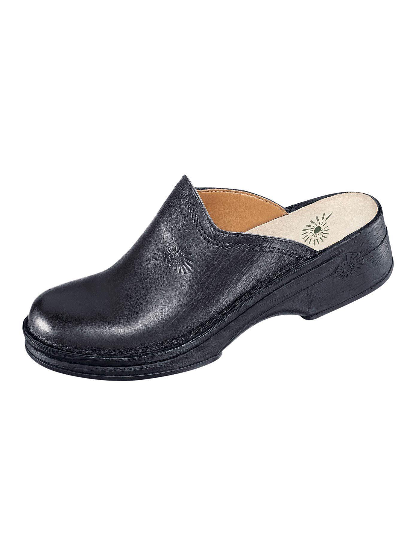 Jomos Damen Clogs Sabot Leder schwarz Weite H Neu Hausschuhe