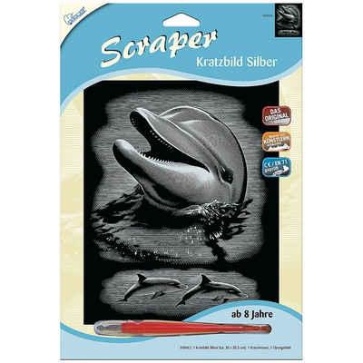 MAMMUT Spiel und Geschenk Malen nach Zahlen »Scraper Silber groß - Delfin«