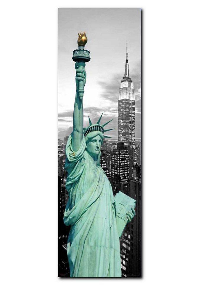 Wandbild, Premium Picture, »New York Freiheitsstatue«, Größe 30 x 90 cm in grau