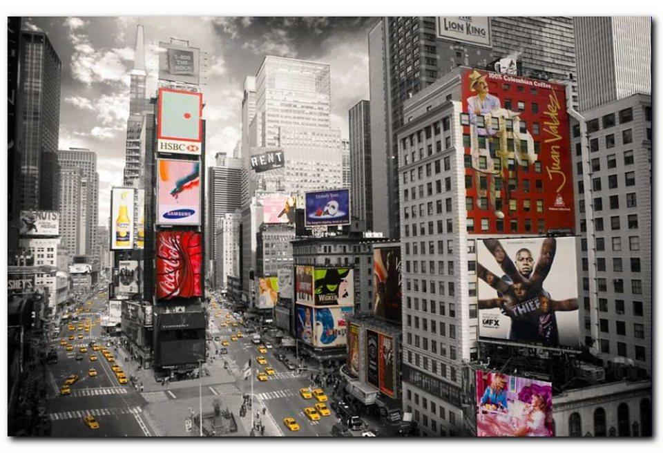 Wandbild, Premium Picture, »Times Square«, Größe 90 x 60 cm in grau