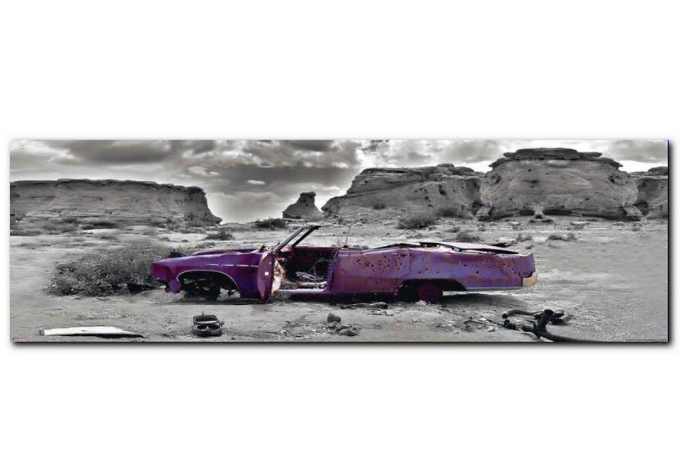 XXL-Wandbild, Premium Picture, »Wrecked Cadillac«, Größe 52 x 150 cm in grau