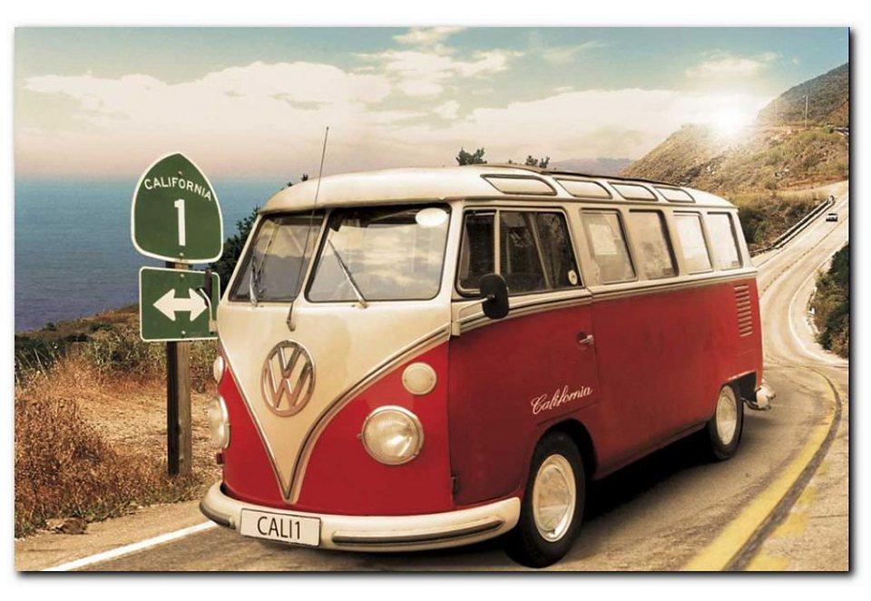 Wandbild, Premium Picture, »VW Bus«, Größe 90 x 60 cm in rot