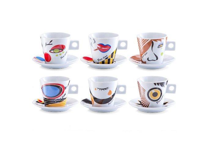 Cappuccino-Set, Zeller, »Faces«, (12-tlg.) in bunt