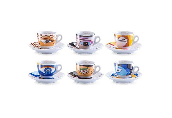 Zeller Present Espressotasse »Magic Eyes«, Porzellan, 6 Tassen, 6 Untertassen