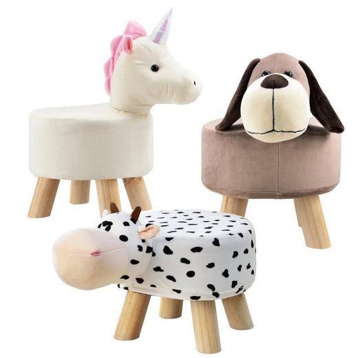 en.casa Sitzhocker, für Kinder »Kuh« mit Holzbeinen