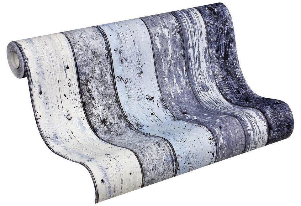 Vliestapete, Livingwalls, »Holztapete »New England«« in blau-hellblau-grau